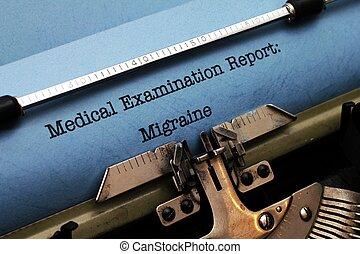 relatório, enxaqueca, médico,  -