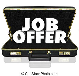 Job Offer Career Opportunity Words Black Leather Briefcase -...