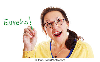 Eureka moment - Woman with glasses having a Eureka big and...