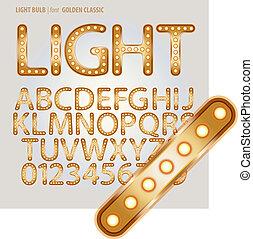 Golden Classic Light Bulb Alphabet and Digit Vector