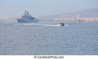 staff warship in zodiac boats