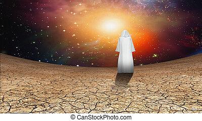 désert, galactique, ciel, errant, cloaked, figure