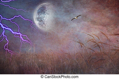 Lightning Strike and Field of grain - Heavily Textured...