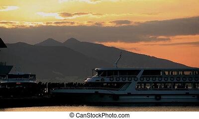 time lapse passenger get off domestic city ship