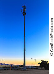 Cellular tower at sunset