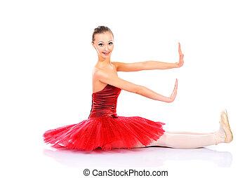 doll role - Professional bellet dancer posing at studio....