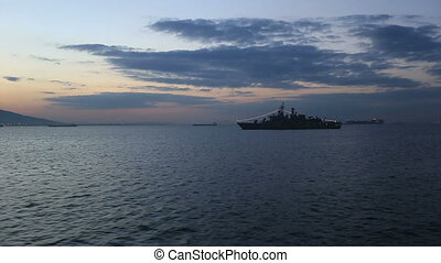 frigate war ship anchored on the Bay