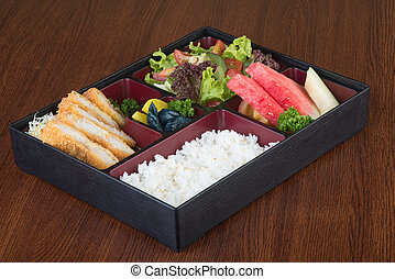 japanese cuisine lunch box set on the background