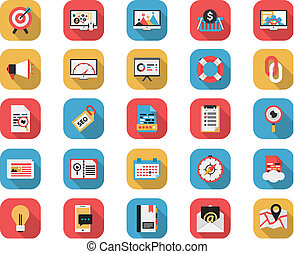 Flat Icons - SEO and Web Icons Long