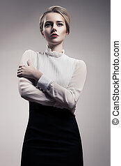 Beautiful Blonde Woman Retro Fashion Image