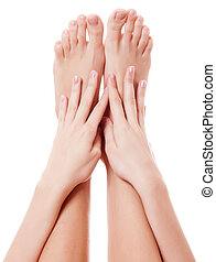 Close up image of woman bare feet Isolated on white...