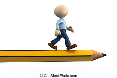 Pencil - 3d people - man, person with a pencil.