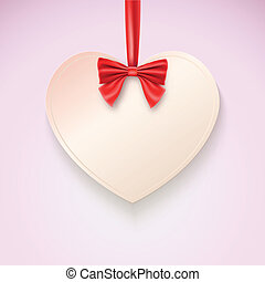 Heart with red bow hanging not tape