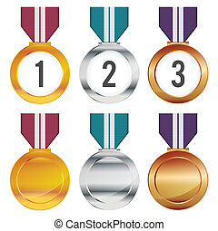 Medals - Vector illustration of several colorful various...
