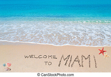 welcome to miami - turquoise water and golden sand with...