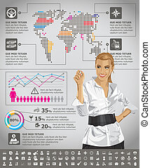 Infographics With Earth Map - Vector infogrsphic with...