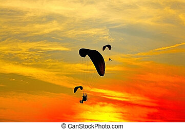 Paramotor with sundown background