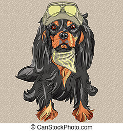 Vector Cute hipster dog Cavalier King Charles Spaniel breed...