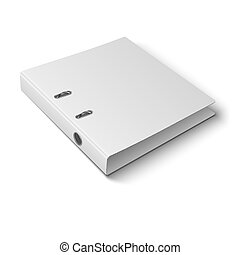 Office binder laying on white background - Blank closed...