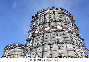 Cooling towers - Close-up of the two cooling towers of the...