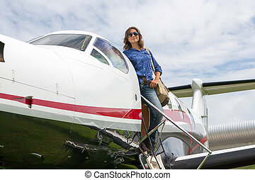 Women pilot - The young beautifu women is a pilot the small...