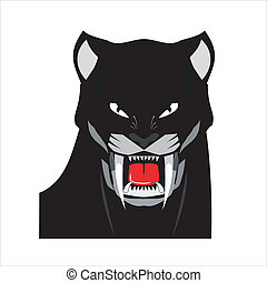 Bold Black Panther Head - suitable for team identity, sport...