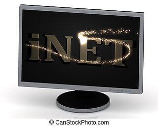 iNET Inscription on monitor from metal letters with...