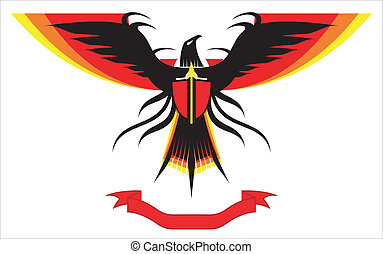 Eagle, falcon, spreading wings - Black Eagle with the red...