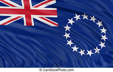 3D Cook Islands flag with fabric surface texture. White...