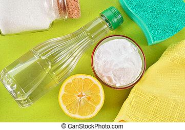 Natural cleaners. Vinegar, baking soda, salt and lemon. -...