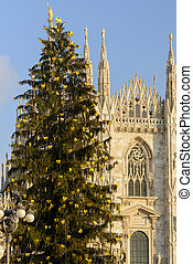 Christmas Tree and Minster, Milan - MILAN, ITALY - DECEMBER...