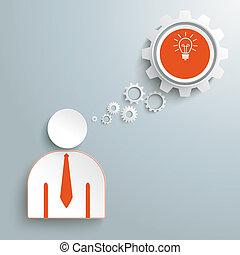 burbuja, hombre de negocios, discurso,  idea, engranajes