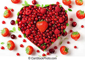 Red berries for in heart-shaped box - Red berries for...