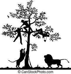 Chased by lions - Editable vector silhouette of three men...