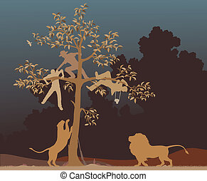 Escaping from lions - Editable vector illustration of three...