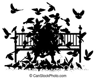 Pigeon smother - Editable vector silhouettes of a man on a...