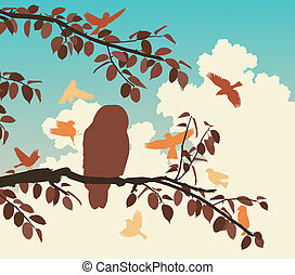 Songbirds mobbing owl - Editable vector illustration of...