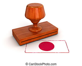 Rubber Stamp Japanese flag Image with clipping path