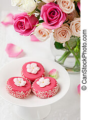 petit fours for holiday and flowers