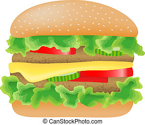 hamburger with meat, lettuce, cucumber,cheese and tomato -...