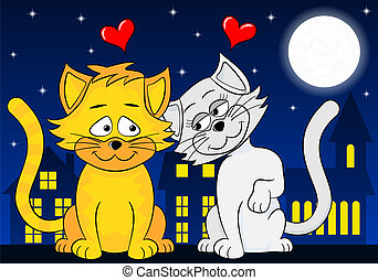 two loving cats - vector illustration of two loving cats