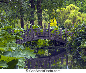 Bridge - Japanese wooden bridge over water