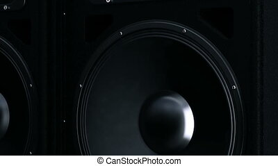 Closeup at moving sub-woofer  - Design made in 3D