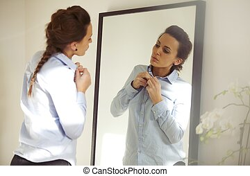Attractive woman wearing shirt - Attractive young woman in...