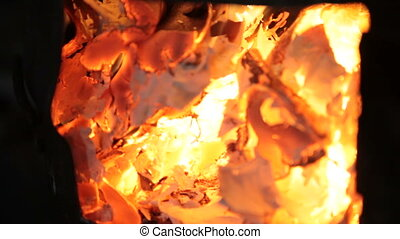 Blazing fire in wood burning stove