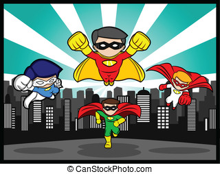 Team Superhero - An illustration of a team superhero