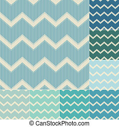 seamless green and blue chevron pattern set