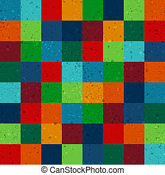 seamless retro squares pattern with dirt effect