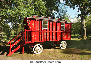 red wooden stagecoach