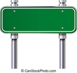 Blank traffic road sign - Blank Green traffic road sign...